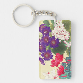 Classic japanese vintage watercolor flowers art Double-Sided rectangular acrylic keychain