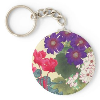 Classic japanese vintage watercolor flowers art keychains