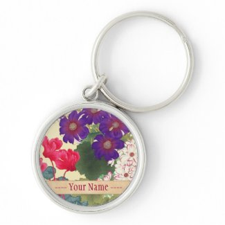 Classic japanese vintage watercolor flowers art keychain