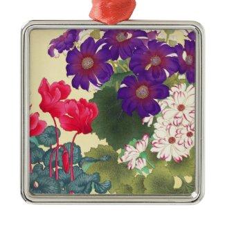 Classic japanese vintage watercolor flowers art christmas ornaments