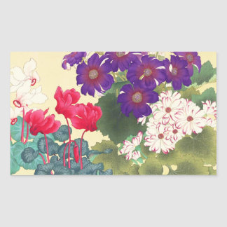 Classic japanese vintage watercolor flowers art rectangular sticker