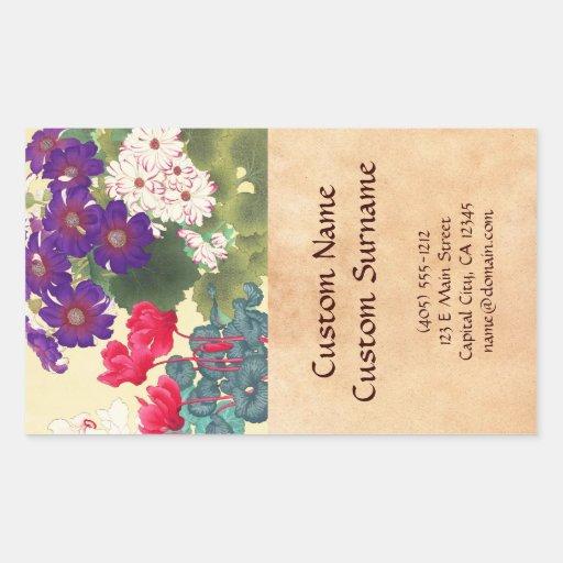 Classic japanese vintage watercolor flowers art rectangular sticker