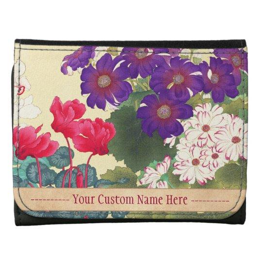 Classic japanese vintage watercolor flowers art tri-fold wallet
