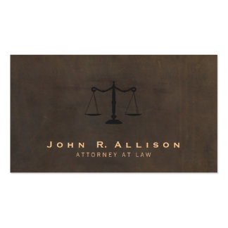 Classic Justice Scale Brown Leather Look Attorney Business Card Template