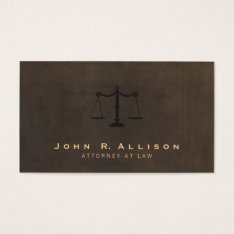 Classic Justice Scale Brown Leather Look Attorney Business Card at Zazzle