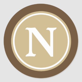 Classic Khaki Chocolate Brown and White Monogram Classic Round Sticker