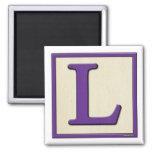 Classic Kids Letter Block L 2 Inch Square Magnet