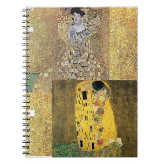 Classic Klimt Painting Fine Art Gold Spiral Notebook
