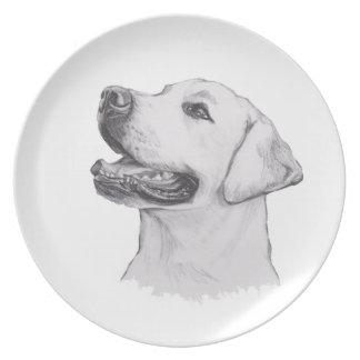 Classic Labrador Retriever Dog profile Drawing Dinner Plate