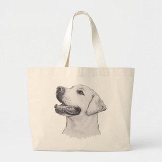 Classic Labrador Retriever Dog profile Drawing Large Tote Bag