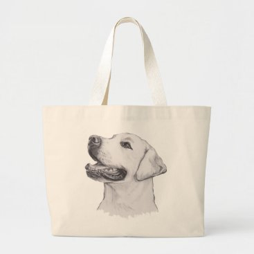 NoseOnYourFace Classic Labrador Retriever Dog profile Drawing Large Tote Bag