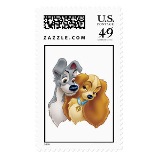 Classic Lady and the Tramp Snuggling Disney Postage Stamps