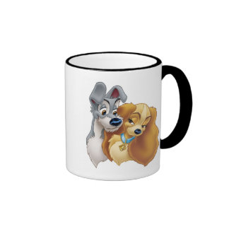 Classic Lady and the Tramp Snuggling Disney Ringer Coffee Mug