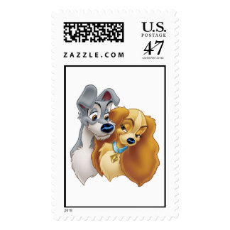 Classic Lady and the Tramp Snuggling Disney Stamp
