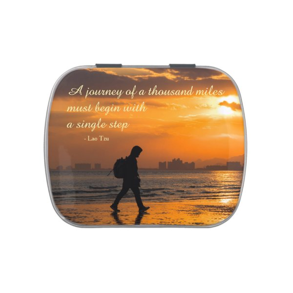 Classic Lao Tzu Journey Quote Jelly Belly Candy Tin