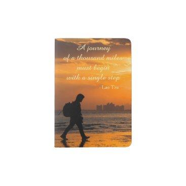 Beach Themed Classic Lao Tzu Journey Quote Passport Holder