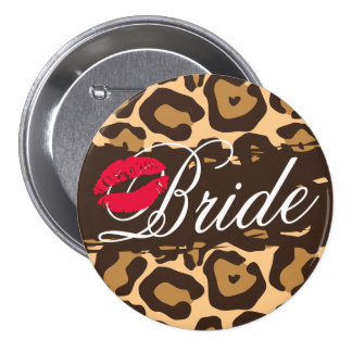 Classic Leopard Print Bride Button Pin