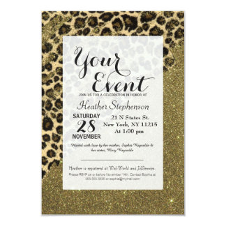 Classic Leopard Print Brushstrokes on Faux Glitter Card
