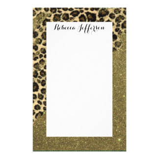Classic Leopard Print Brushstrokes on Faux Glitter Stationery