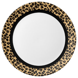Classic Leopard with Black Band on White Dinner Plate