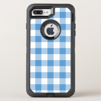 Classic Light Blue and White Checked Pattern OtterBox Defender iPhone 7 Plus Case