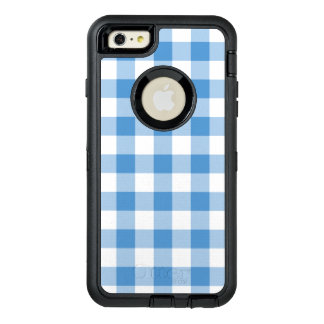 Classic Light Blue and White Checked Pattern OtterBox Defender iPhone Case
