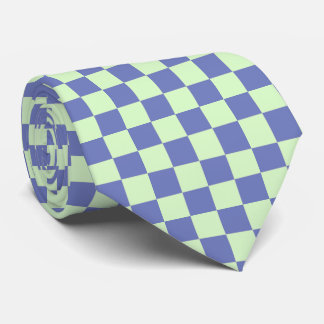 Classic Light Green and Blue Checkerboard Mens Tie