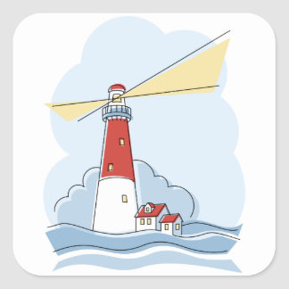 Classic Lighthouse Square Sticker