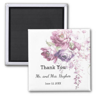 Classic lilac and pink wedding floral thank you magnet