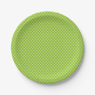 Classic Lime Green and White Polka Dot Plates