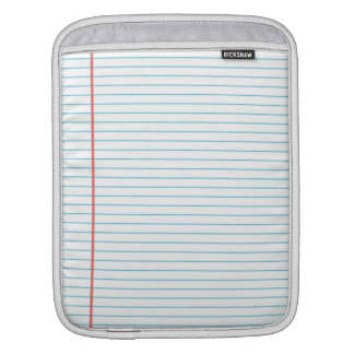 Classic Lined Paper Notebook Pattern iPad Sleeve
