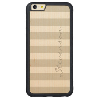 Classic Linen Beige Stripes - Personalized Name Carved® Maple iPhone 6 Plus Bumper