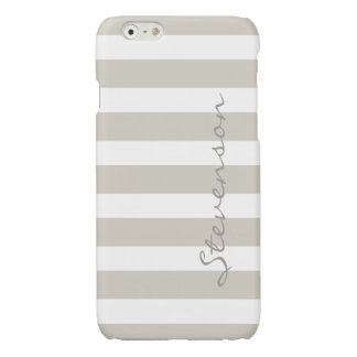 Classic Linen Beige Stripes - Personalized Name Glossy iPhone 6 Case