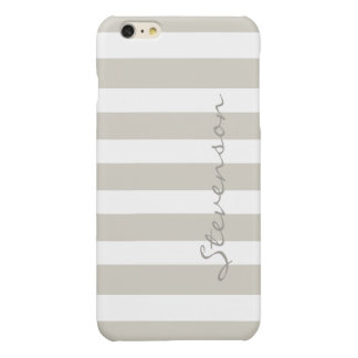 Classic Linen Beige Stripes - Personalized Name Glossy iPhone 6 Plus Case