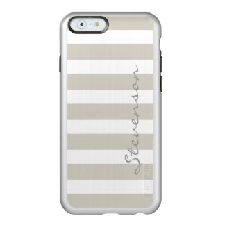 Classic Linen Beige Stripes - Personalized Name Incipio Feather® Shine iPhone 6 Case