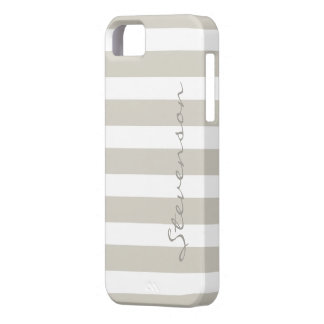 Classic Linen Beige Stripes - Personalized Name iPhone SE/5/5s Case