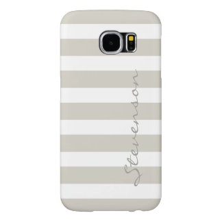 Classic Linen Beige Stripes - Personalized Name Samsung Galaxy S6 Cases