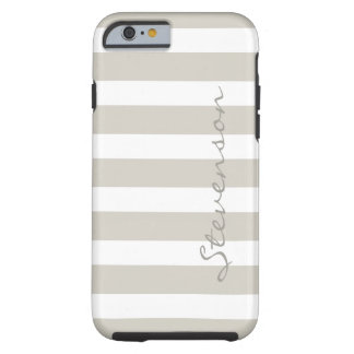 Classic Linen Beige Stripes - Personalized Name Tough iPhone 6 Case