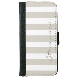 Classic Linen Beige Stripes - Personalized Name Wallet Phone Case For iPhone 6/6s