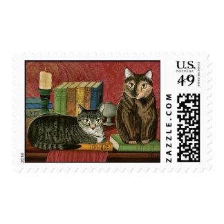 Classic Literary Cats Art Postage