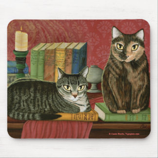 Classic Literary Cats Poe, Dickens, Art Mousepad