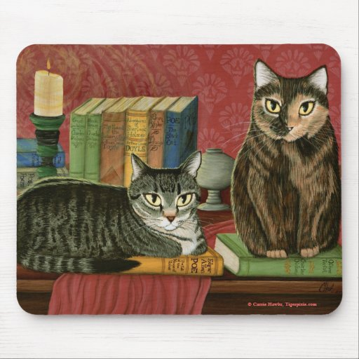 Classic Literary Cats Poe, Dickens, Art Mousepad