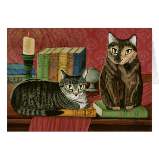 Classic Literary Cats Poe, Dickens Stoker Art Card