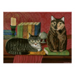 Classic Literary Cats Poe, Dickens, Stoker, Art Poster