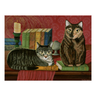 Classic Literary Cats Poe, Dickens, Stoker, Art Print