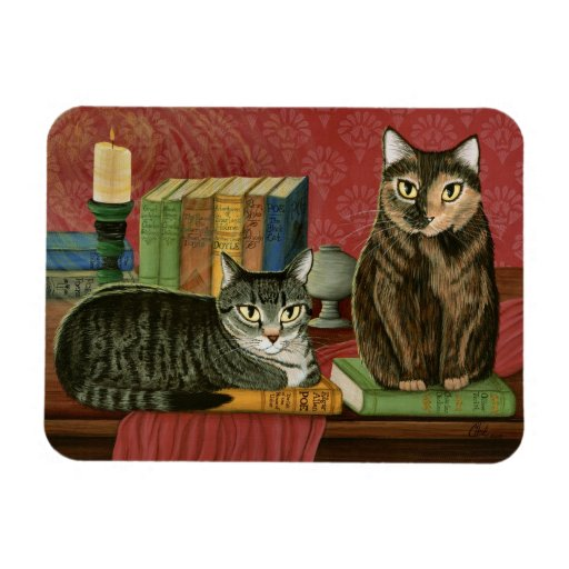 Classic Literary Cats Poe, Dickens, Stoker, Magnet