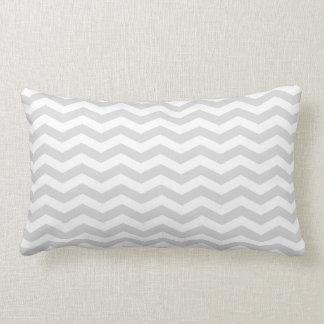 Classic Lt Gray White Thin Chevron Zig-Zag Pattern Lumbar Pillow