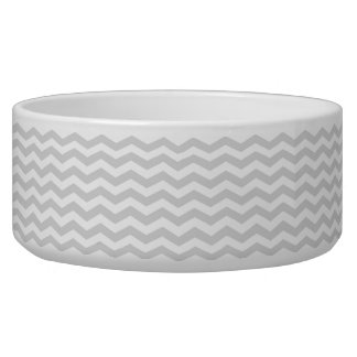 Classic Lt Gray White Thin Chevron Zig-Zag Pattern Dog Food Bowls