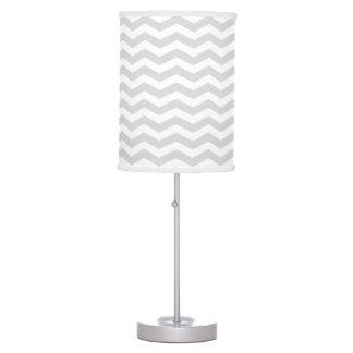 Classic Lt Gray White Thin Chevron Zig-Zag Pattern Table Lamp