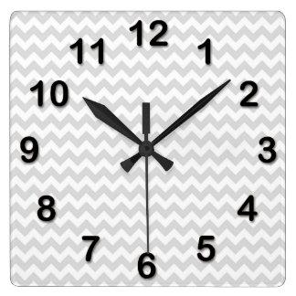 Classic Lt Grey Wht Thin#2 Chevron Zig-Zag Pattern Wall Clock